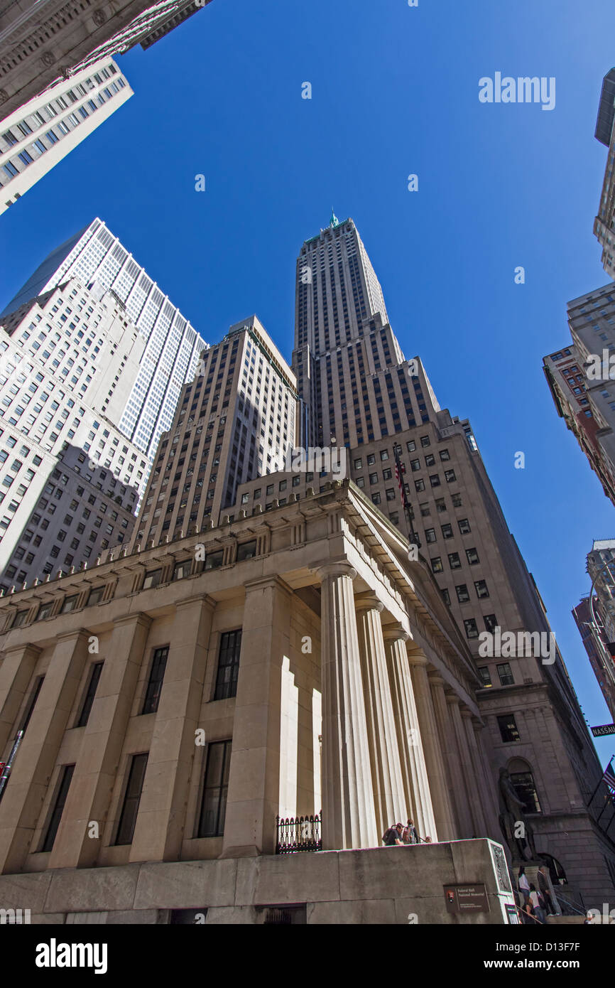 Federal Hall, Wall Street, Trump Tower, Donald Trump,  Financial District, New York City, USA - Stock Image