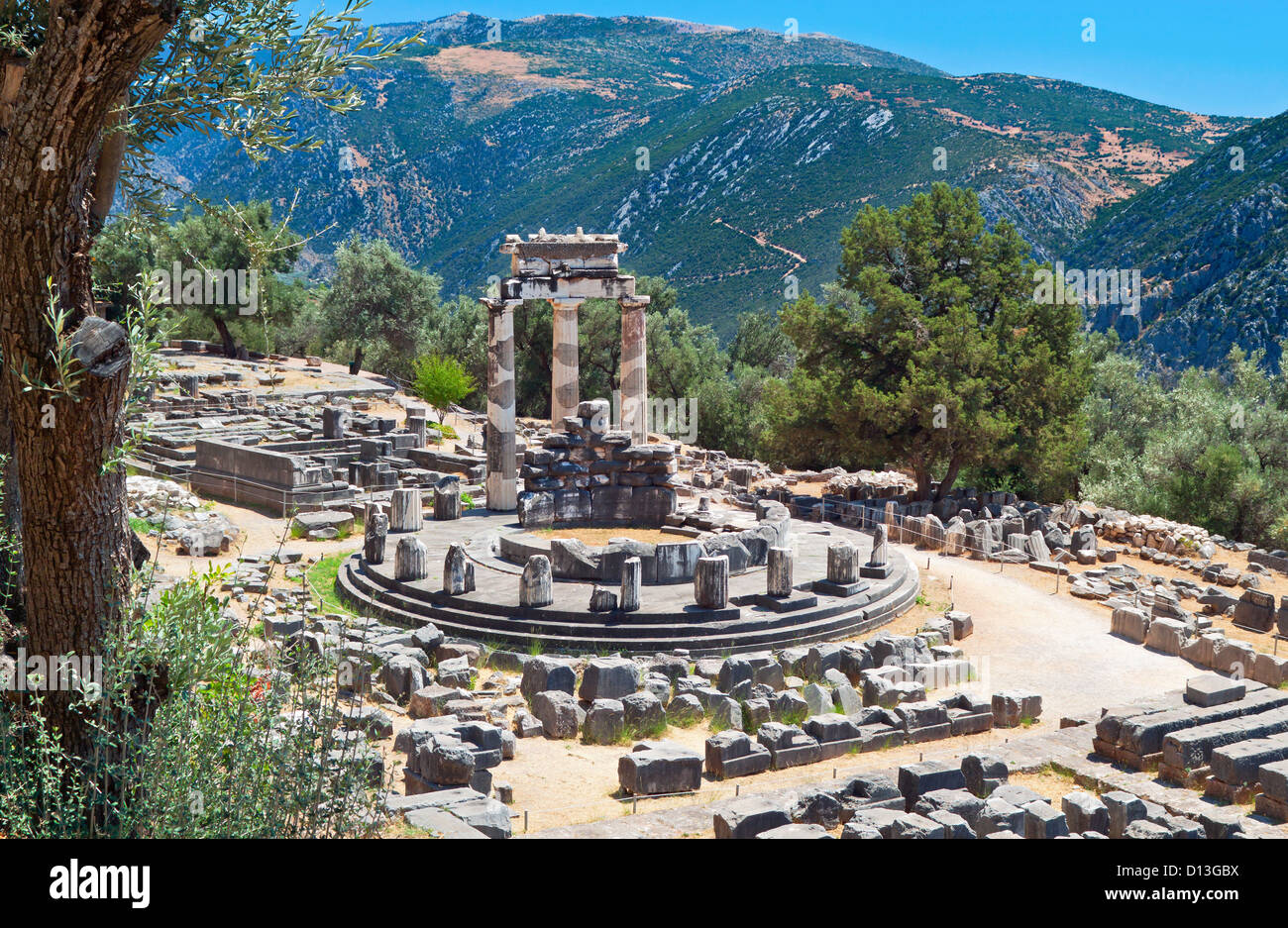 Temple of Athena pronoia at Delphi oracle archaeological site in Greece Stock Photo
