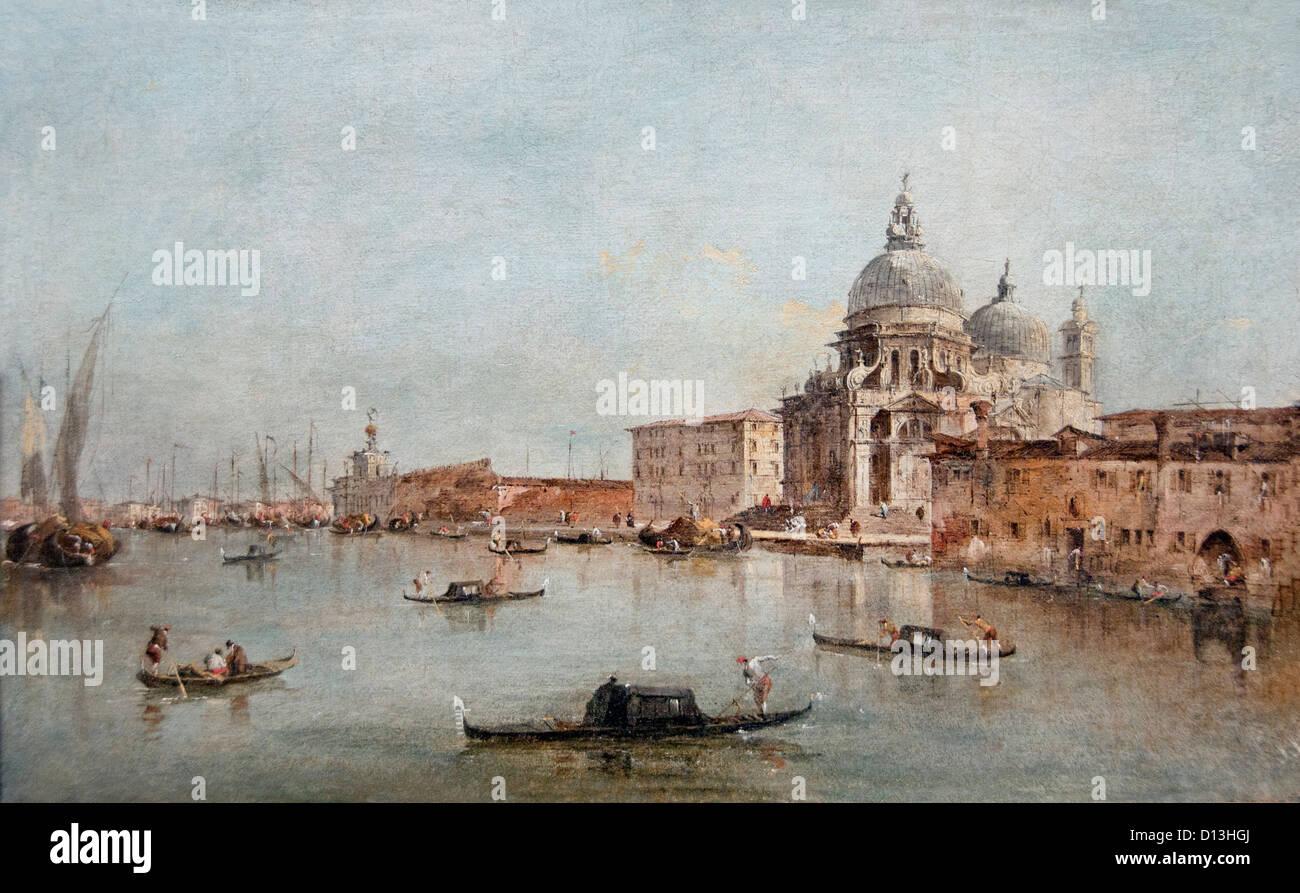 The Entrance of the canal Grande with S Maria della Salute Venice 1712  by Francesco Guardi Italy Italian - Stock Image