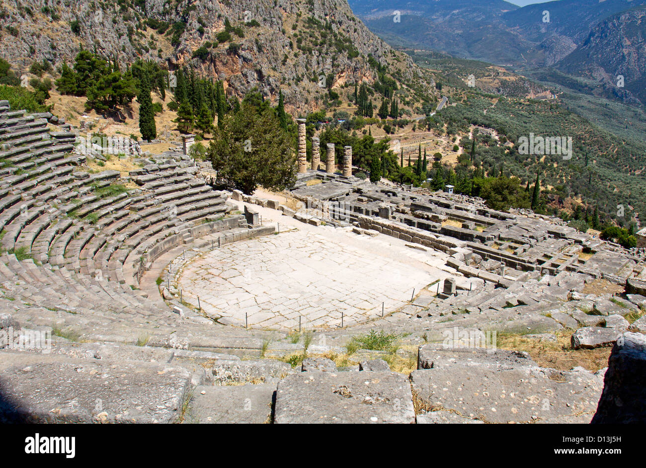 The theater of ancient Delphi in Greece Stock Photo