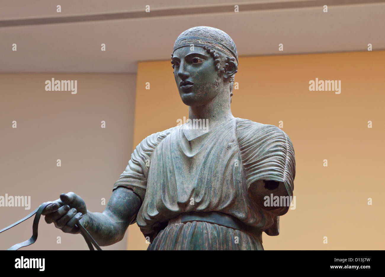Charioteer statue located at Delphi museum in Greece Stock Photo