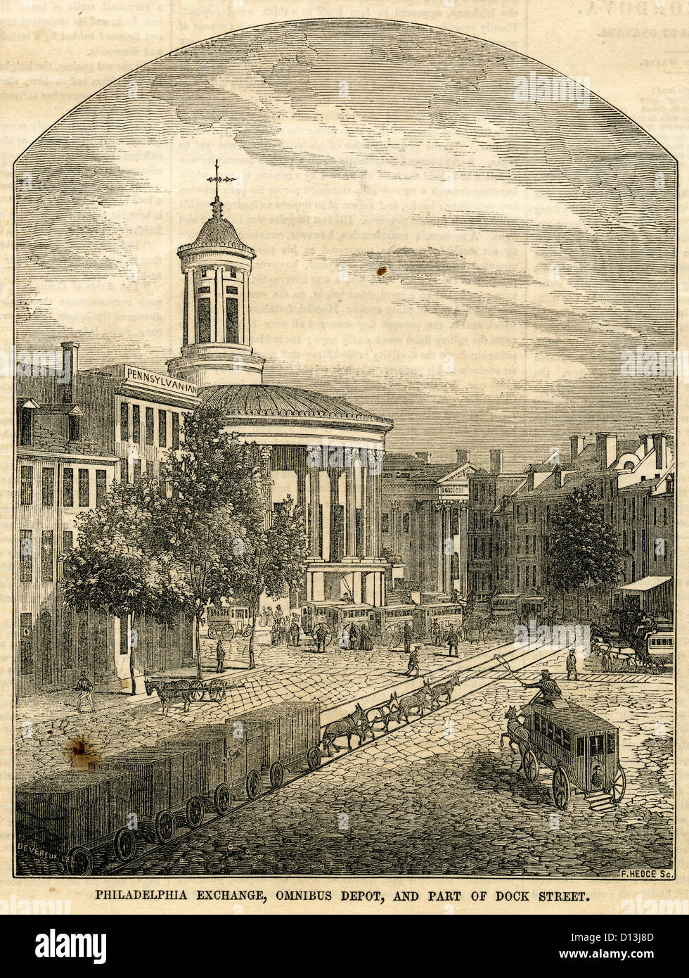 1854 engraving, Merchants' Exchange Building, Omnibus Depot, and Part of Dock Street in Philadelphia, Pennsylvania, - Stock Image