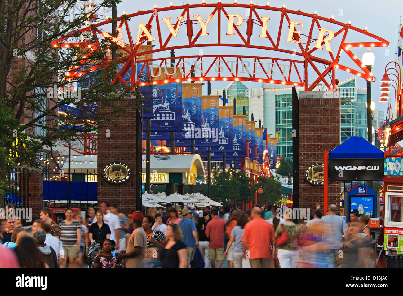 Entrance to Navy Pier, Chicago, Illinois USA - Stock Image