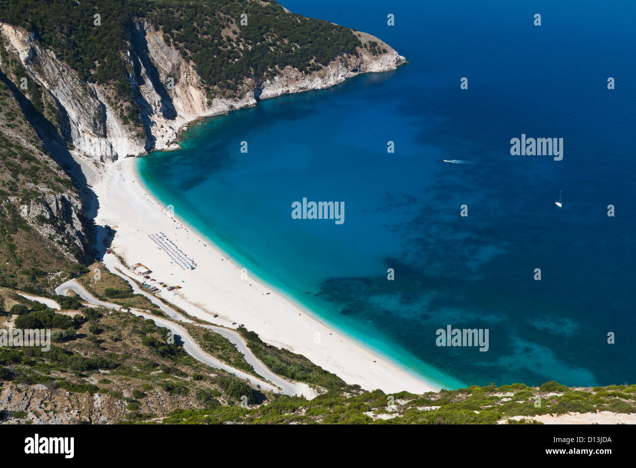 Mirtos beach at Kefalonia island in Greece - Stock Image