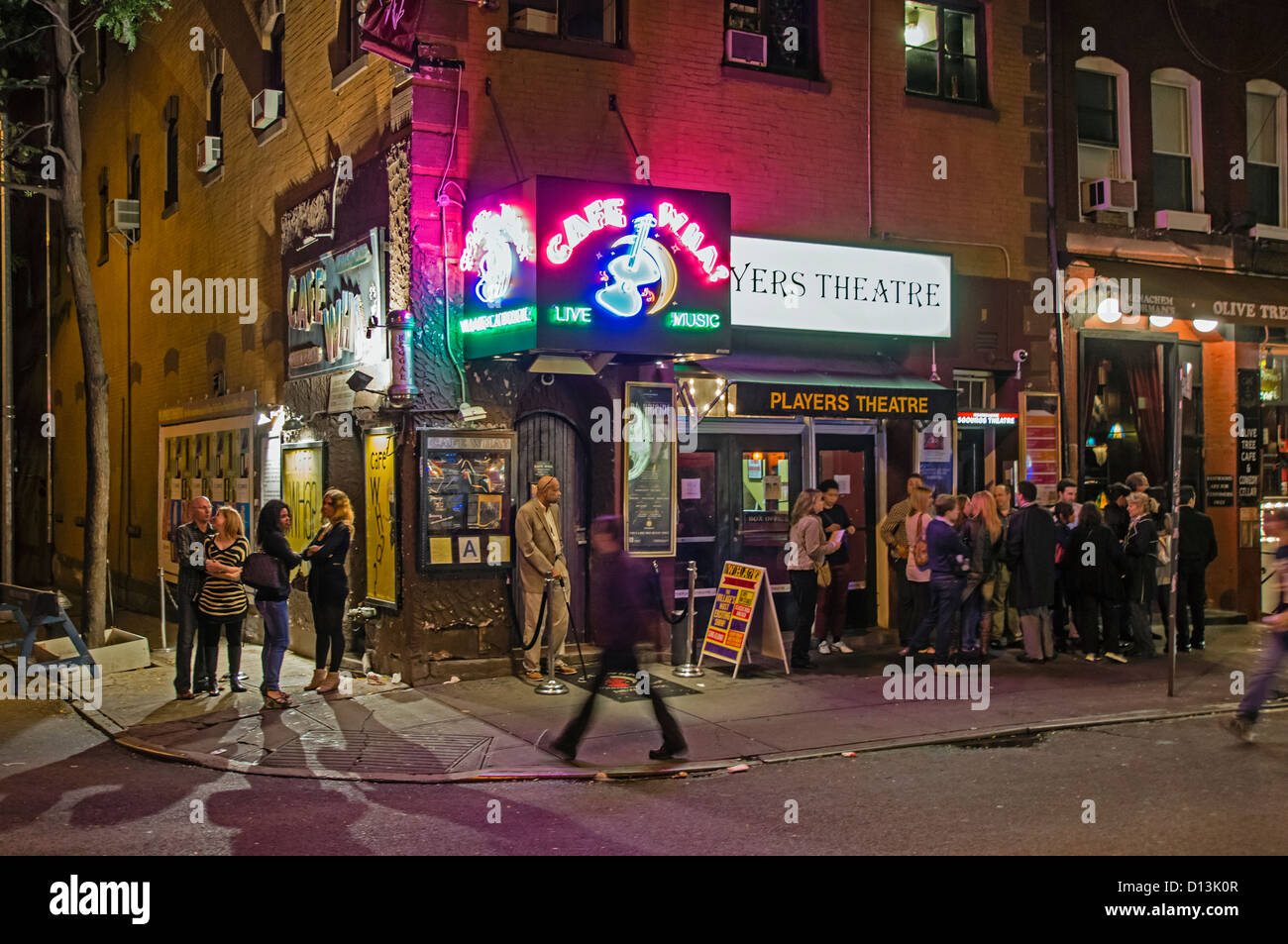 Greenwich Village, Thompsen street, Nightlife, Bars, Cafe Wha , live Music, street, NYC - Stock Image