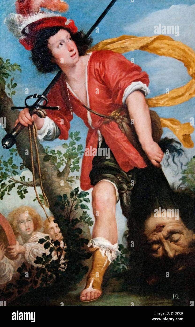 David with Goliaths head 1635 by Bernardo Strozzi Italian Italy - Stock Image