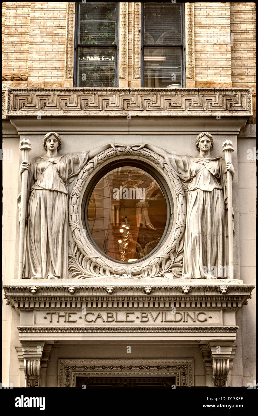 The Cable Building, Art Deco entrance, designed by McKim Mead and White in 1892, Broadway, Soho, New york - Stock Image