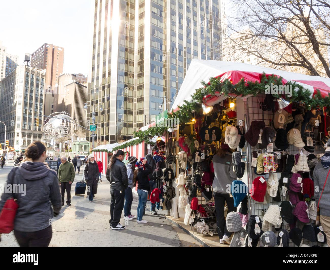 Holiday Christmas Market at Columbus Circle, NYC Stock Photo ...