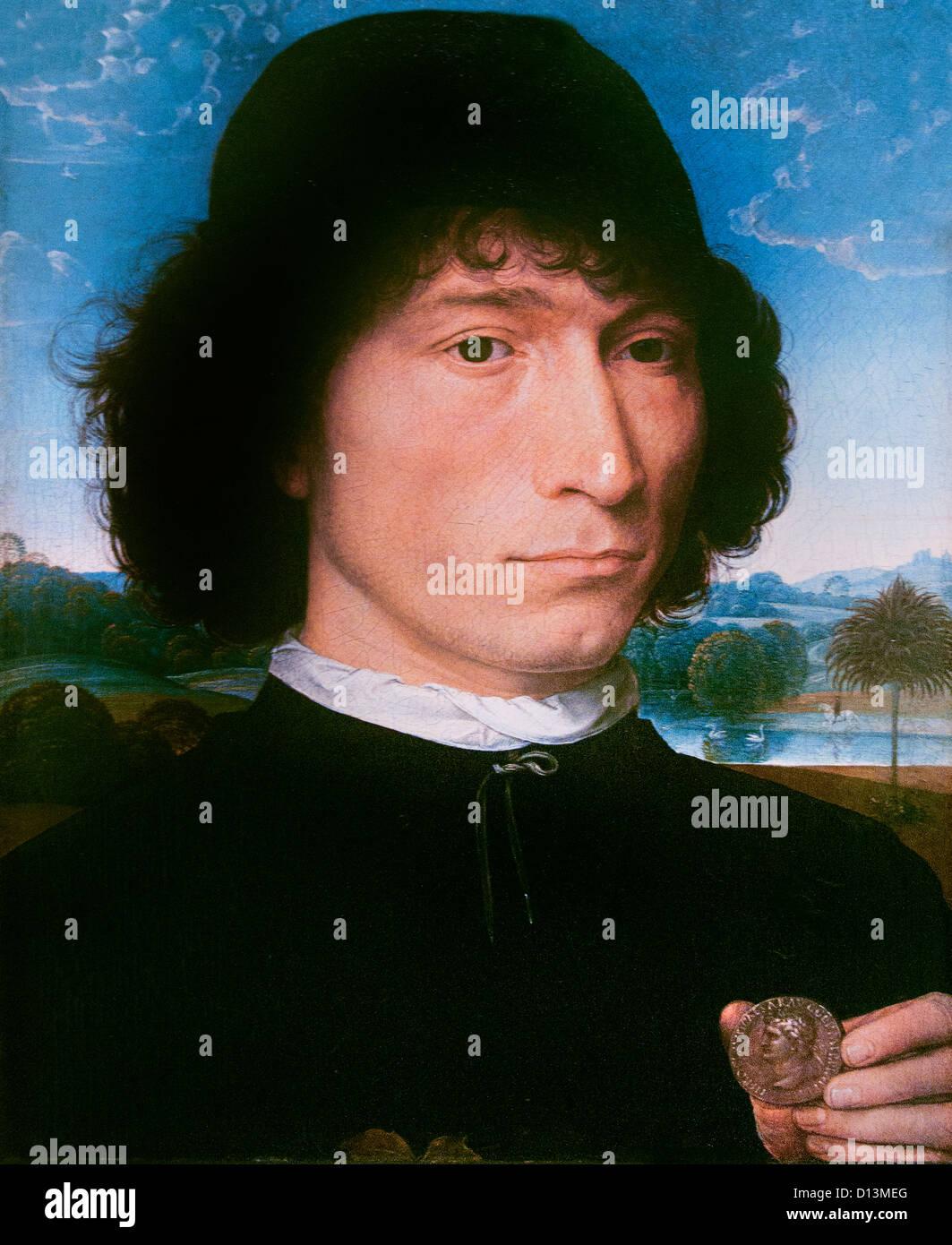 Man with Roman Coin 1480  Hans Memling ( Memlinc ) 1430 – 1494 German Germany - Stock Image