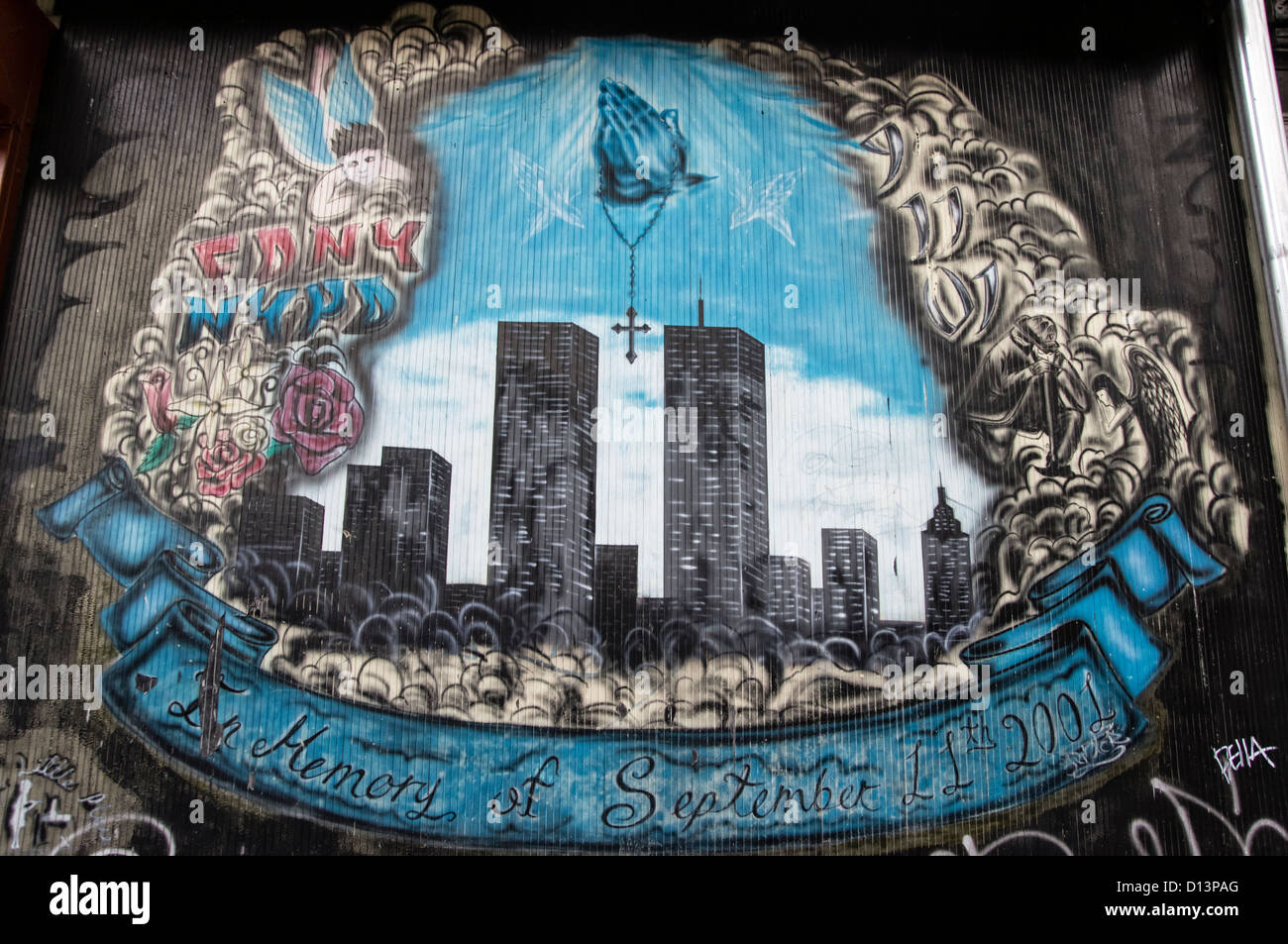 Wall Painting, Memory of September 11 , twin towers, NYC - Stock Image