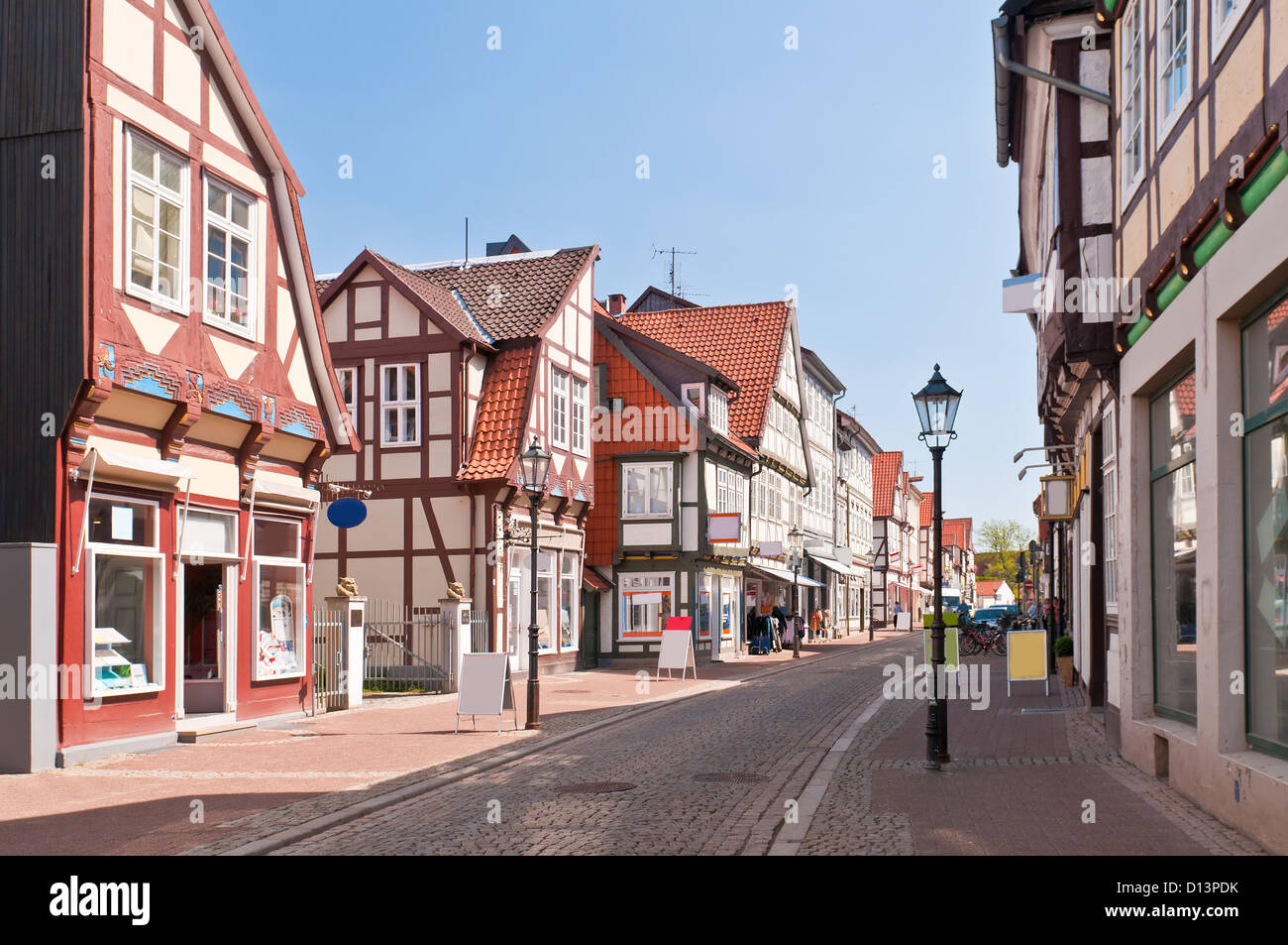 half-timber houses street in Celle, Germany - Stock Image