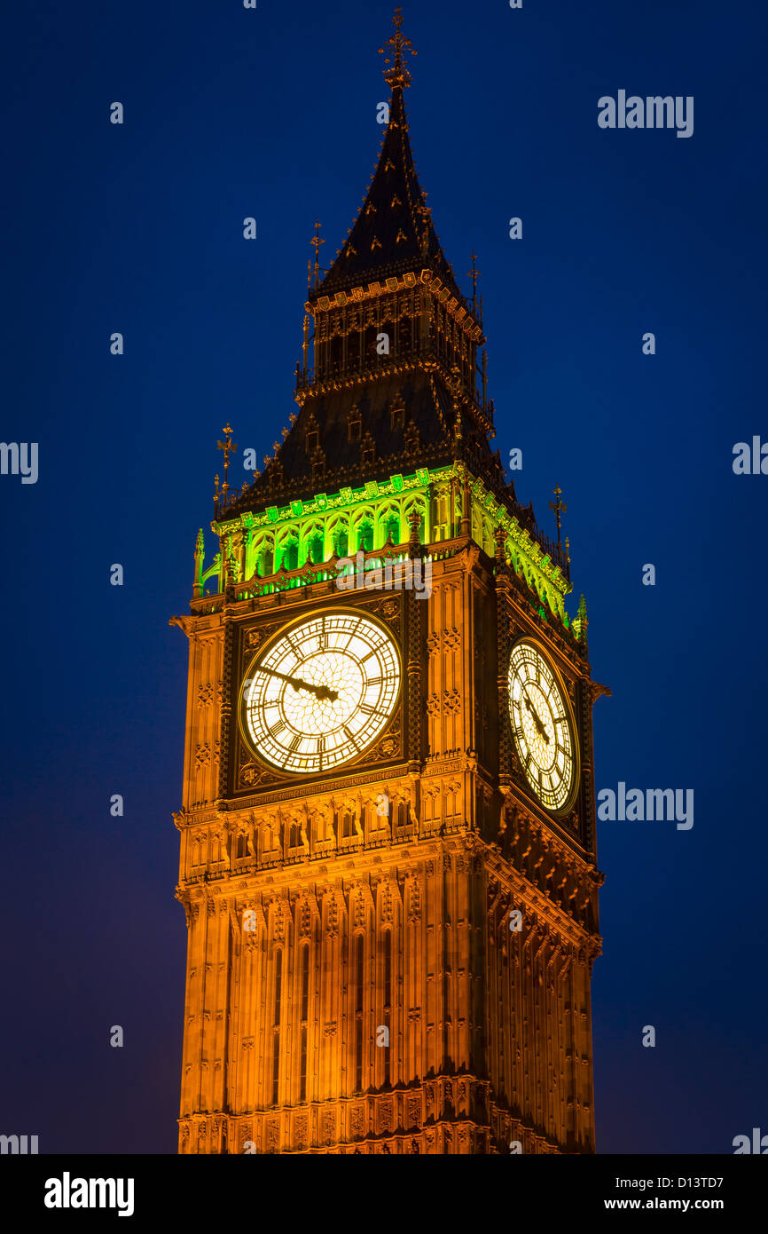 Big Ben is the nickname for the great bell of the clock at the north end of the Palace of Westminster in London - Stock Image