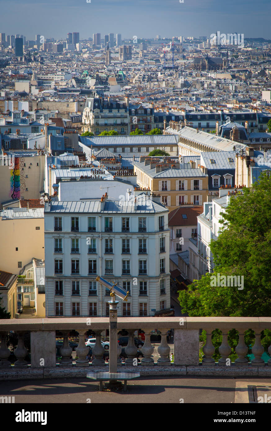View of Paris from the Butte of Montmartre near Sacre-Coeur Stock Photo