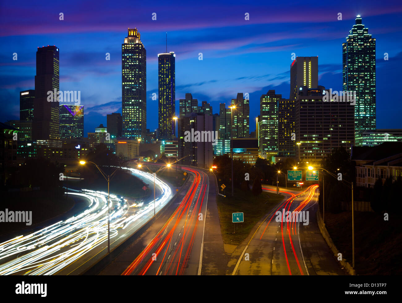 Atlanta downtown by night - Stock Image