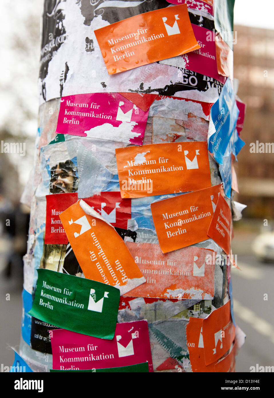 Lampost Stickers Berlin Germany - Stock Image