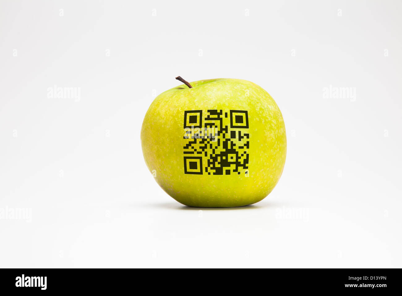 Apple with QR code - Stock Image