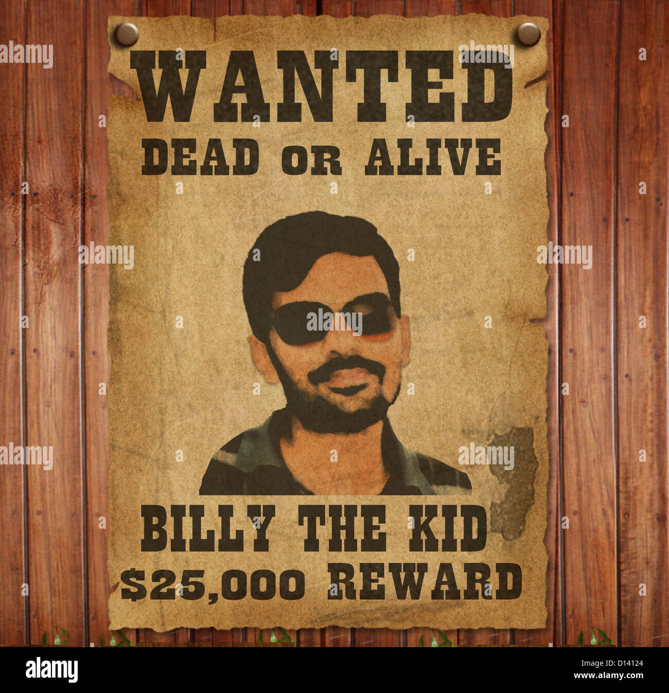 Wanted Poster Template with Bounty Reward Stock Photo: 52334412 - Alamy