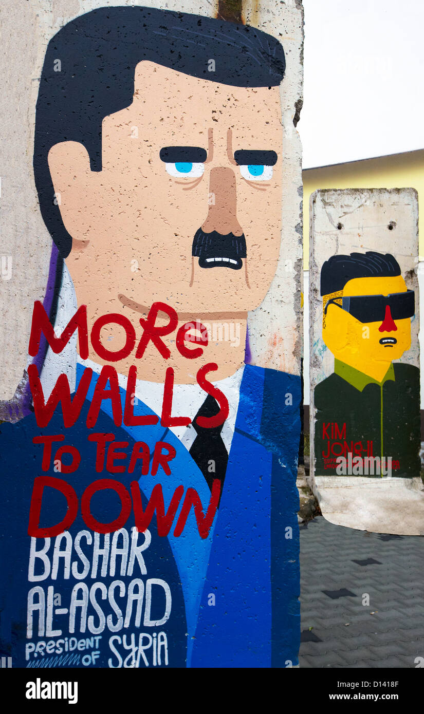 Bashar Al-Assad Graffiti On the Berlin Wall Berlin Germany - Stock Image