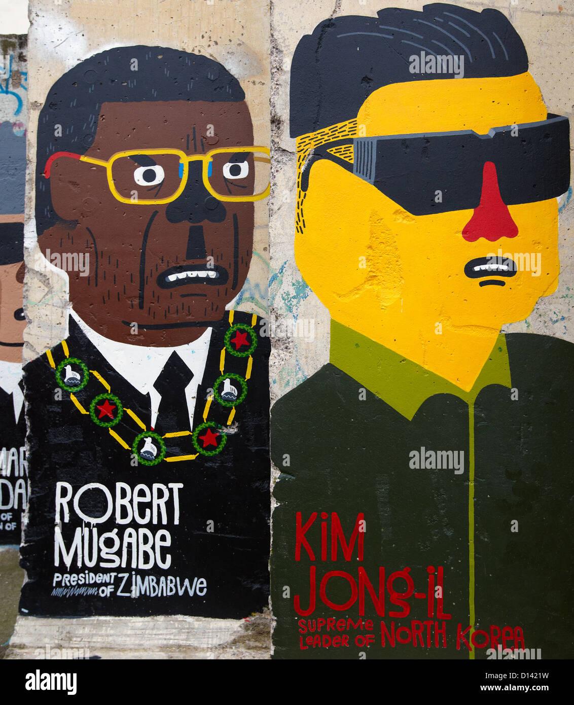 Mugabe and Kim Jong-Il Graffiti On the Berlin Wall Berlin Germany - Stock Image