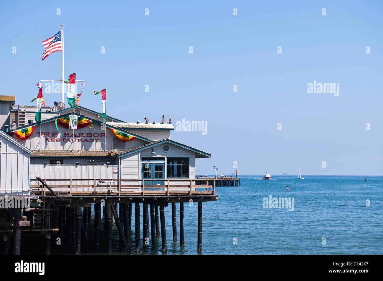 Italian Restaurant On The Pier Santa Barbara Stock Photo