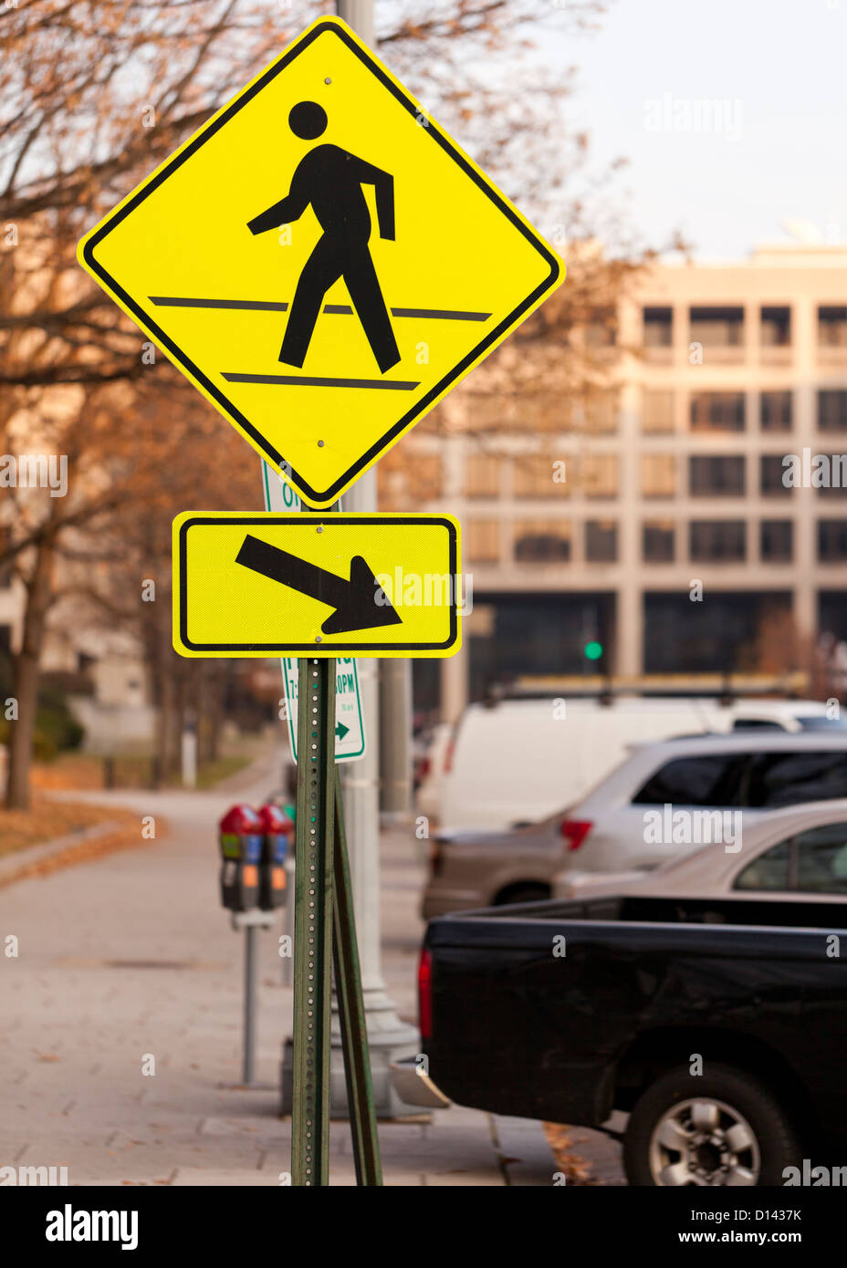 Pedestrian crosswalk sign - Stock Image
