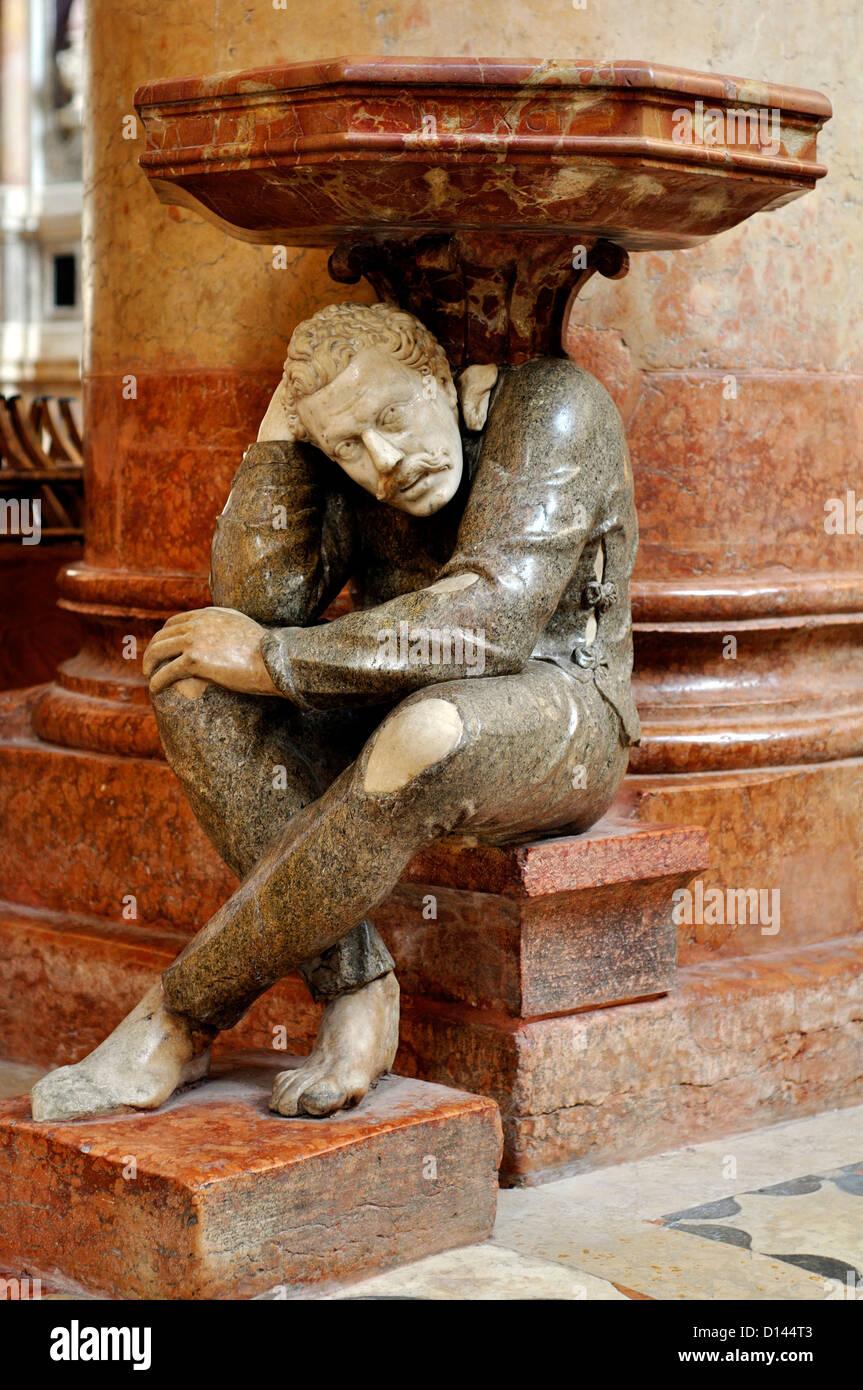 Italy, Veneto, Verona, St Anastasia Church, il Gobbo, the Humpbacked, Holy Water Font - Stock Image