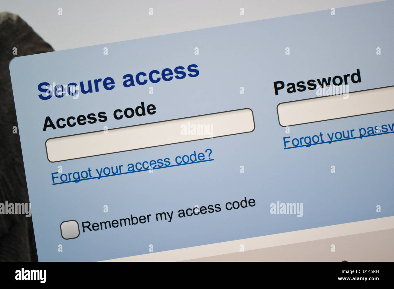 Secure access log-in web page - Stock Image