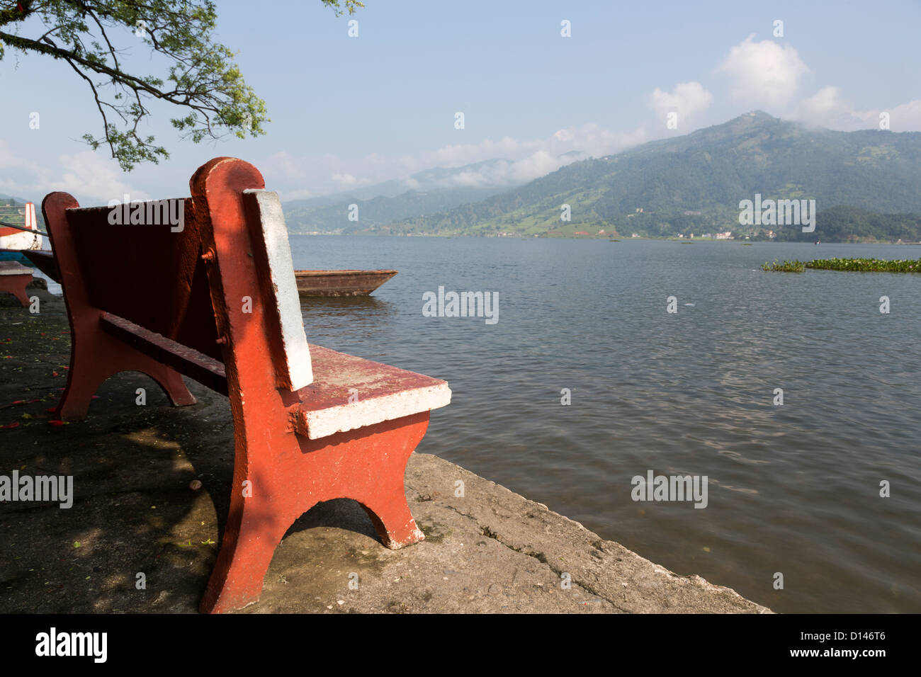Phewa (or Fewa) lake in Pokhara, Nepal - Stock Image