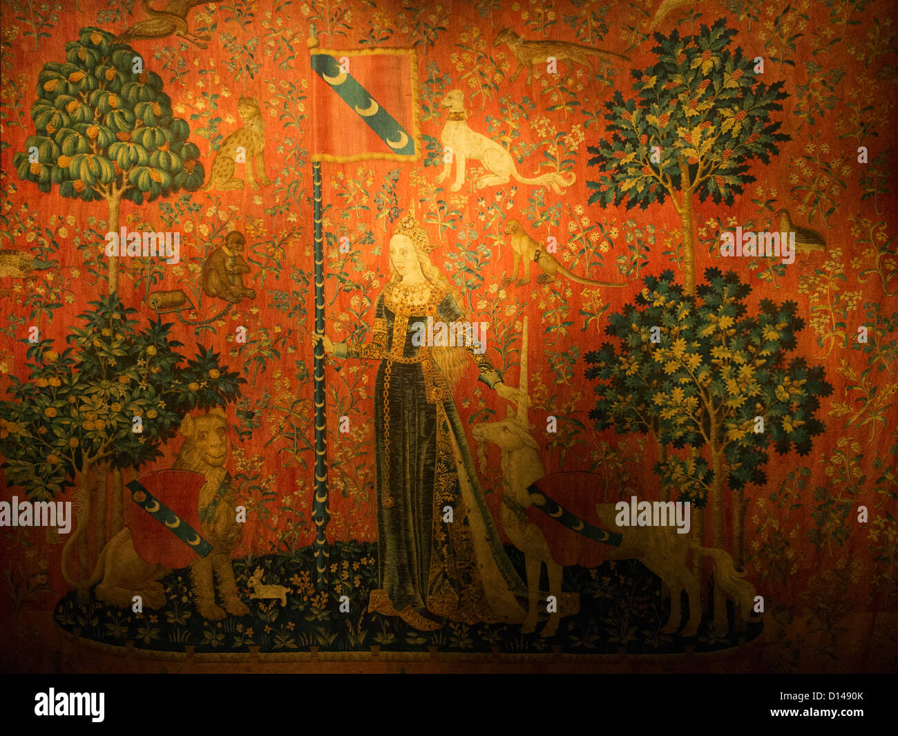 One of the six tapestries of The Lady and the Unicorn, Cluny Museum, Paris. - Stock Image