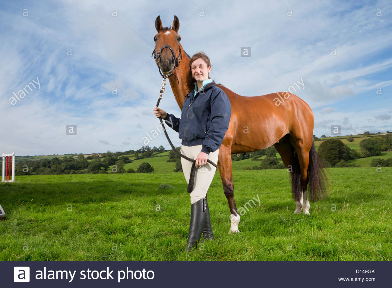 Portrait of smiling girl with horse in field - Stock Image