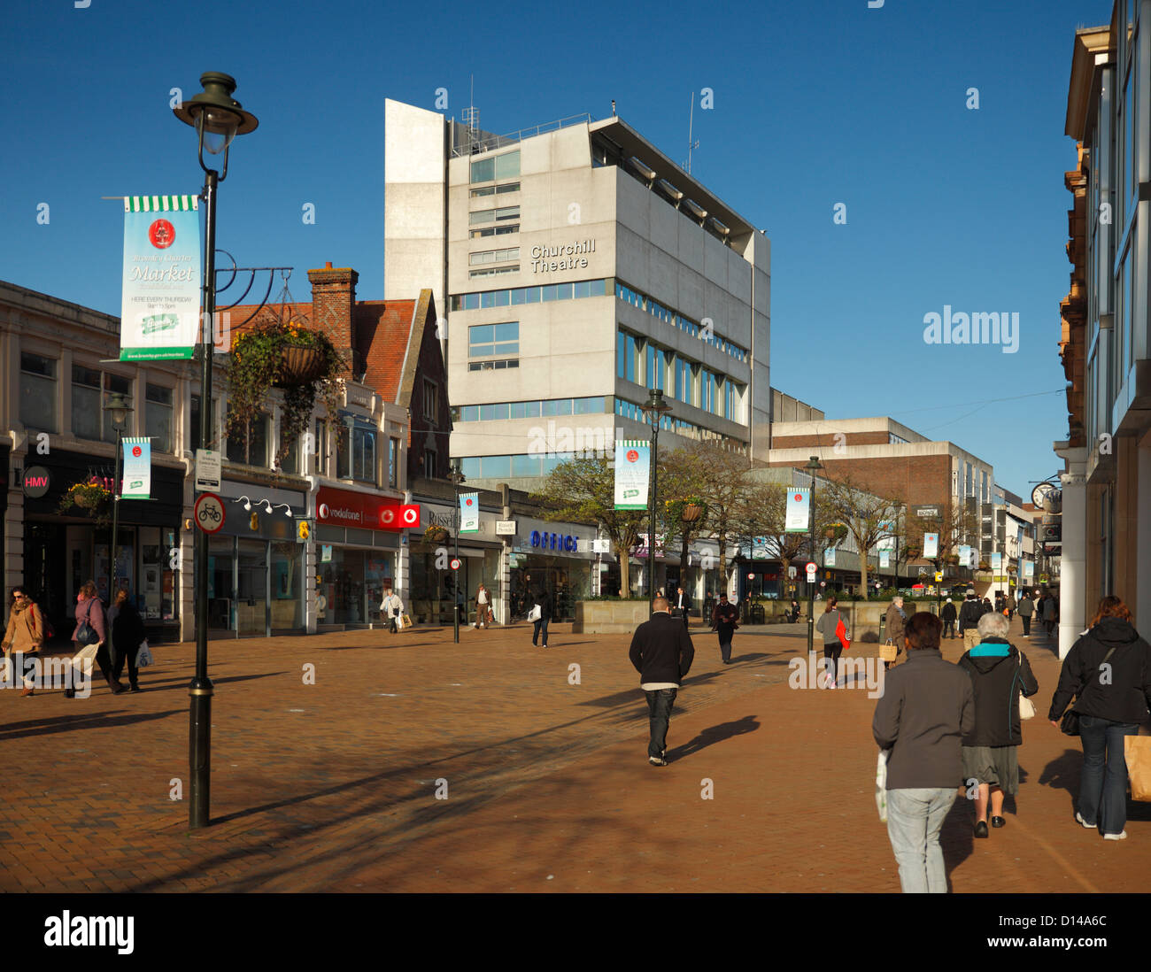 Bromley High street and Churchill Theatre. - Stock Image