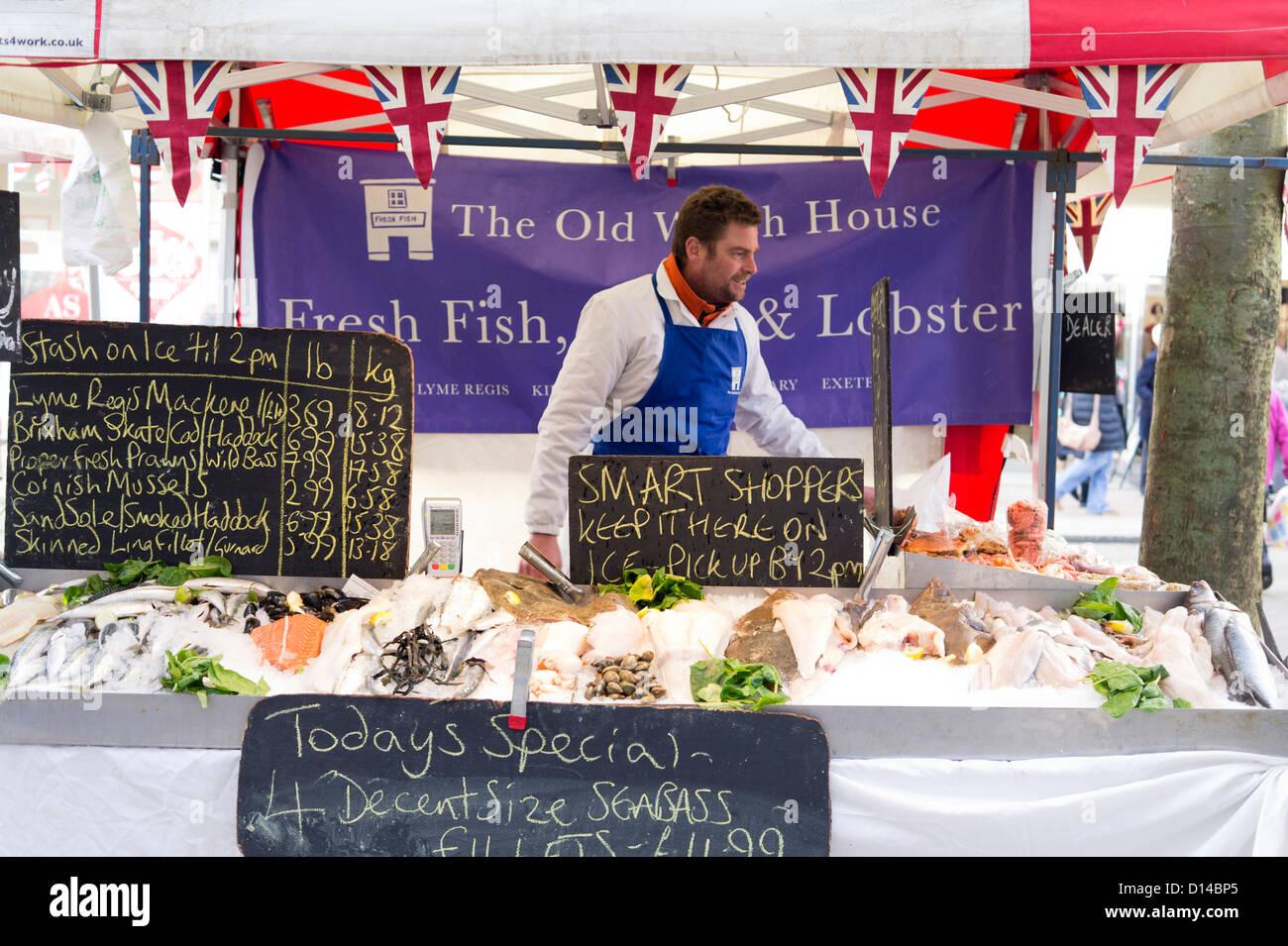 Fishmonger market stall. Exeter Devon UK. Stock Photo