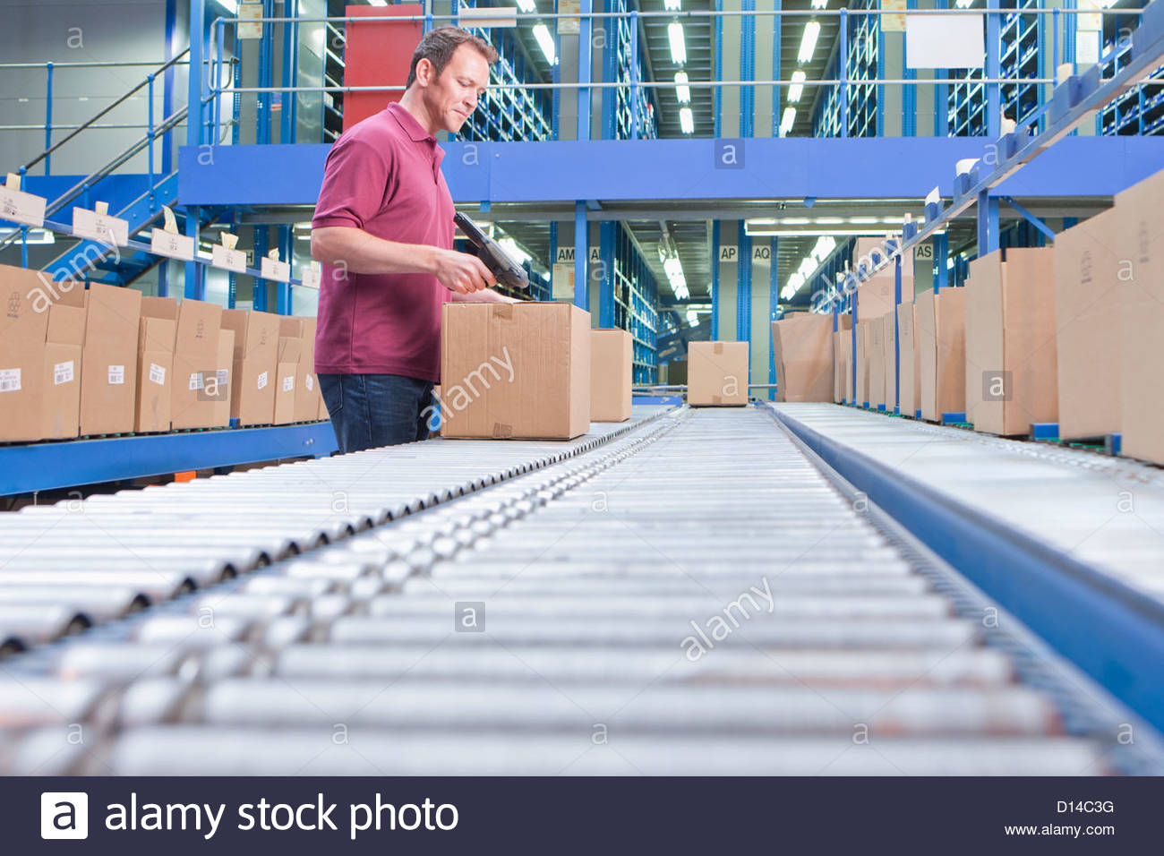 Worker with bar code reader scanning box on conveyor belt in distribution warehouse - Stock Image