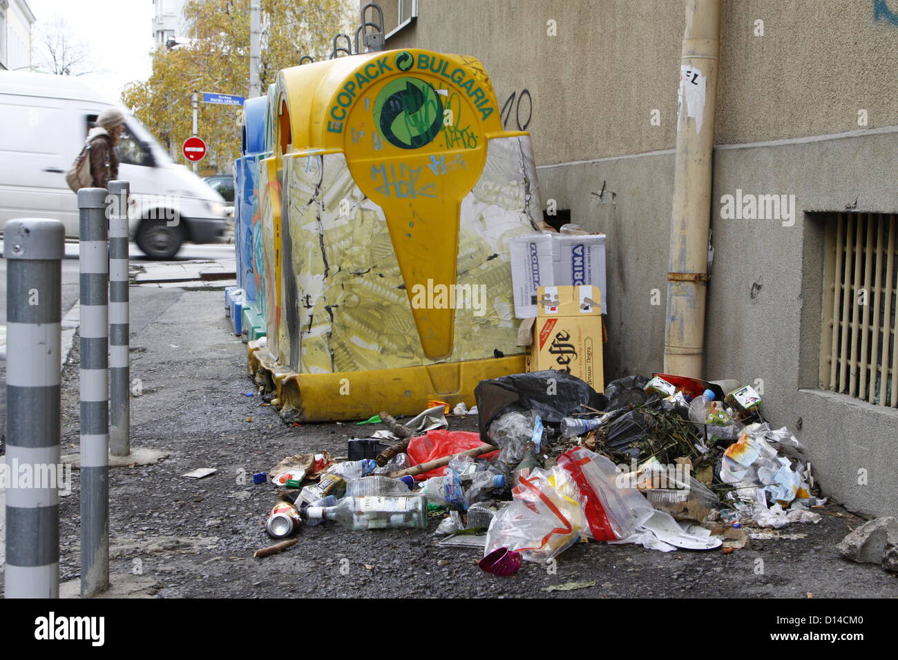 Sofia, Bulgaria. 6th December 2012. Pile of rubbish beside recycling containers in central Sofia. Although waste - Stock Image