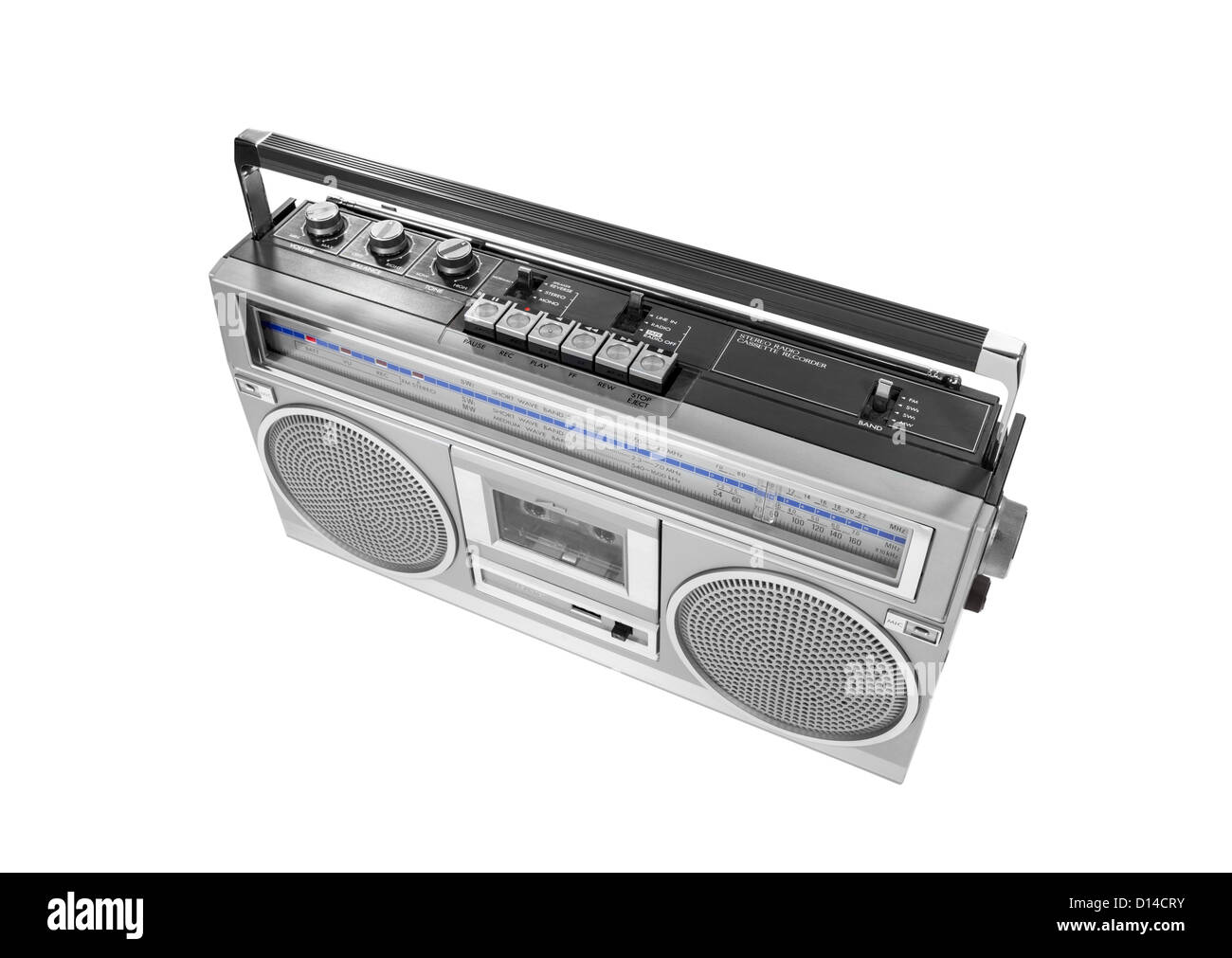 Portable vintage radio cassette recorder isolated with clipping path. - Stock Image