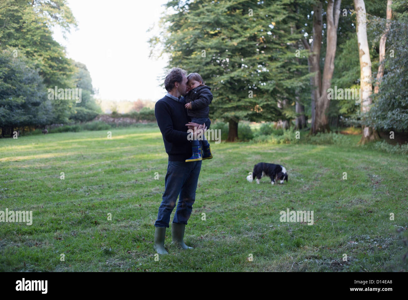 Father holding son in backyard - Stock Image