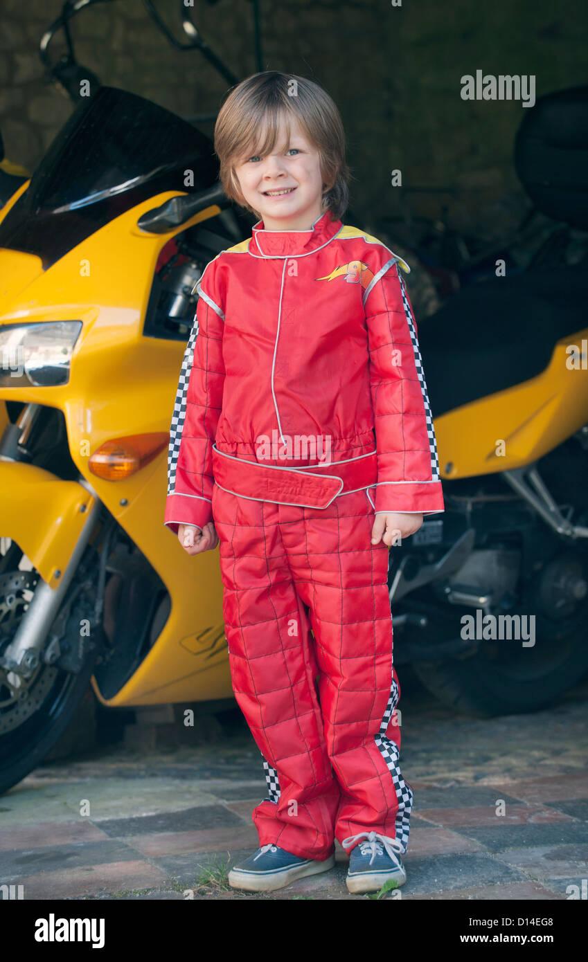 Boy Wearing Race Car Driver Costume Stock Photo 52345000 Alamy