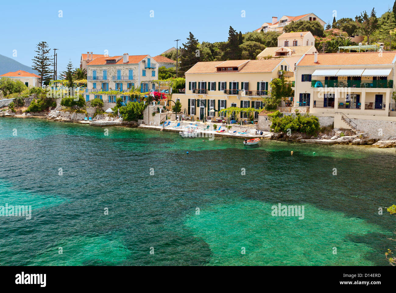 Traditional scenic fishing village of Fiscardo at Kefalonia island in Greece - Stock Image