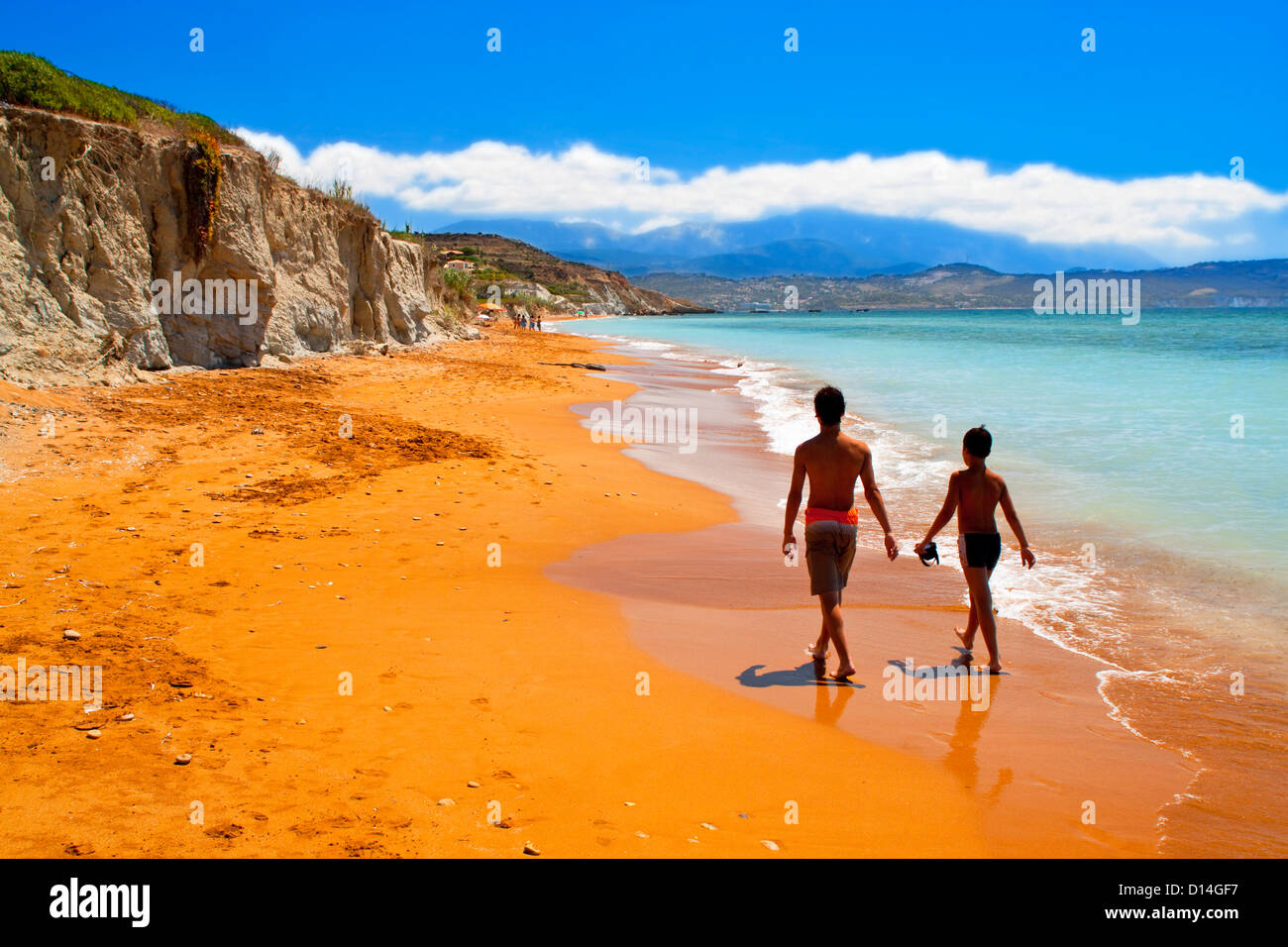 Sandy red beach at Kefalonia island in Greece - Stock Image