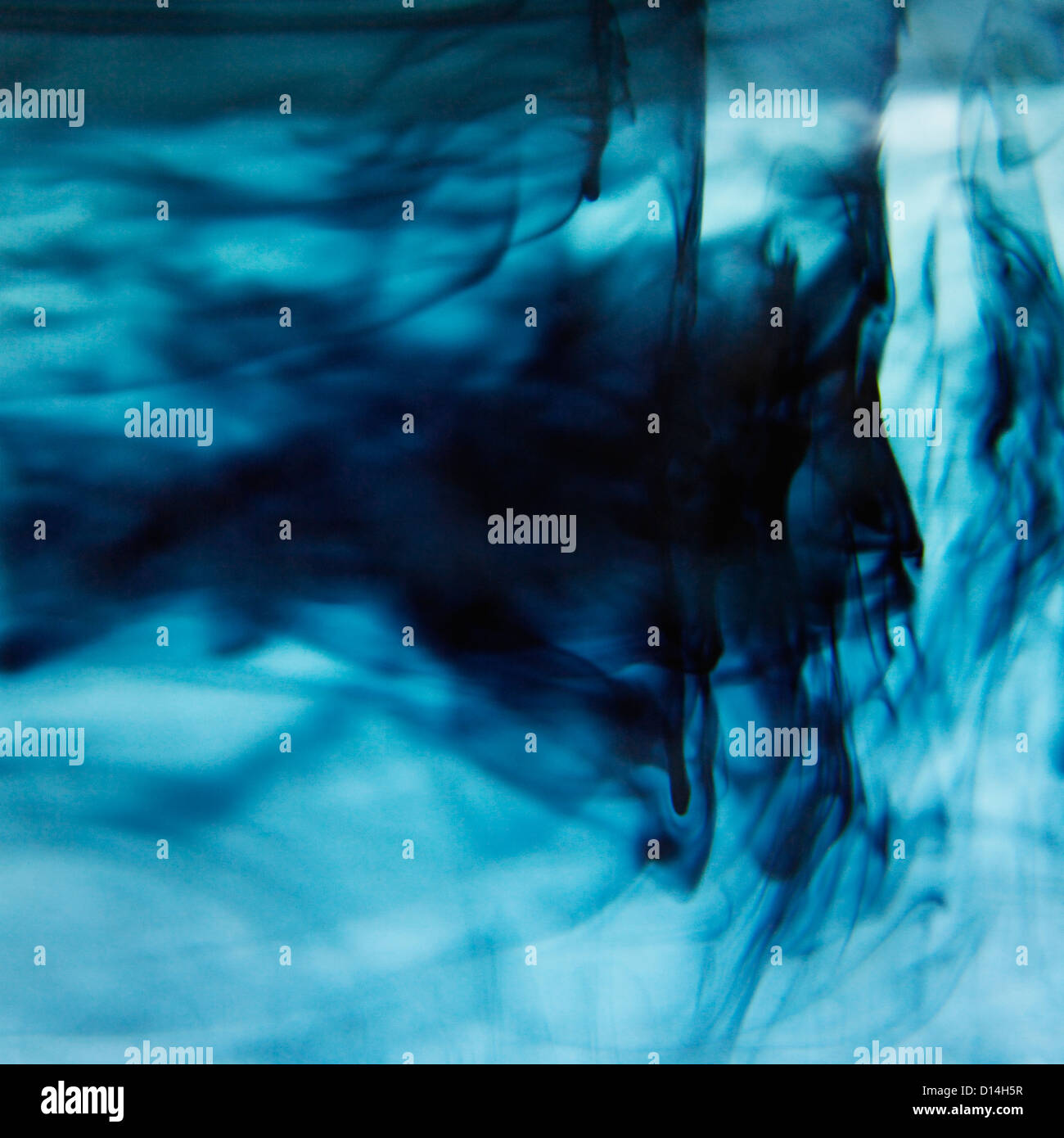 Blue ink swirling in liquid - Stock Image