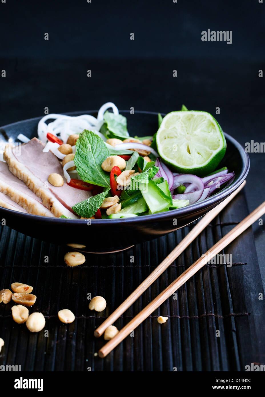 Plate of Vietnamese duck salad - Stock Image