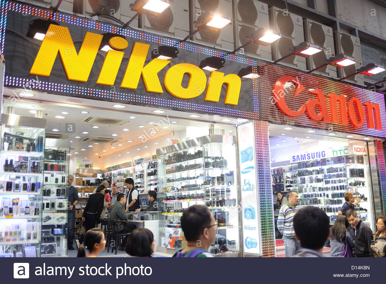 aebf3c9131 Hong Kong Camera shop on Nathan Road specializing in Nikon. - Stock Image