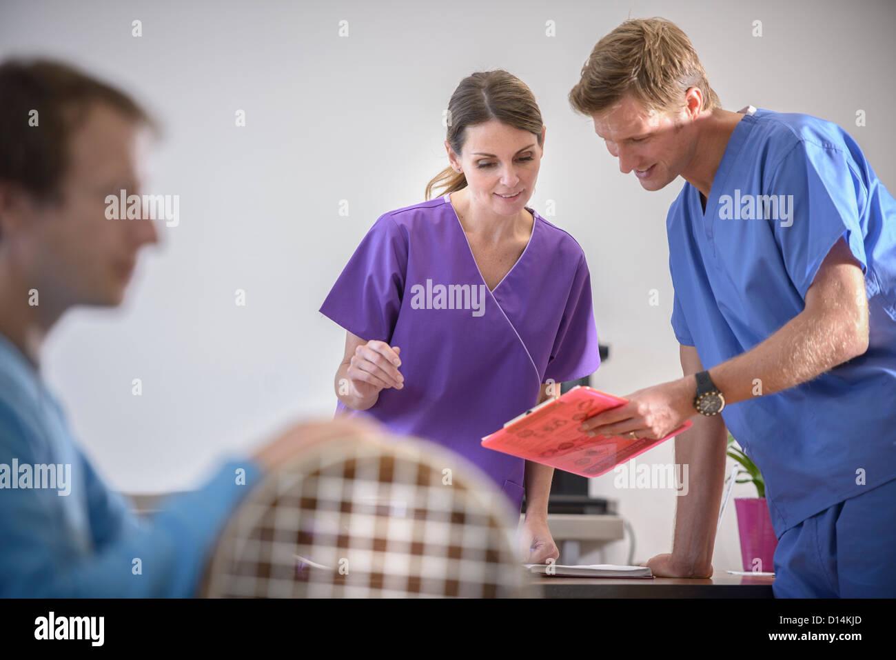 Veterinarians reading medical chart - Stock Image