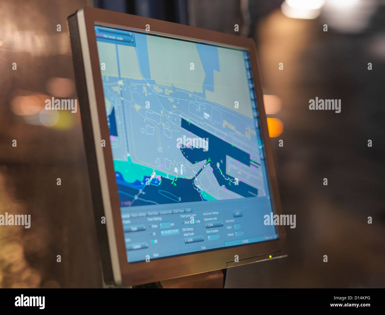 Digital map on tugboat computer - Stock Image