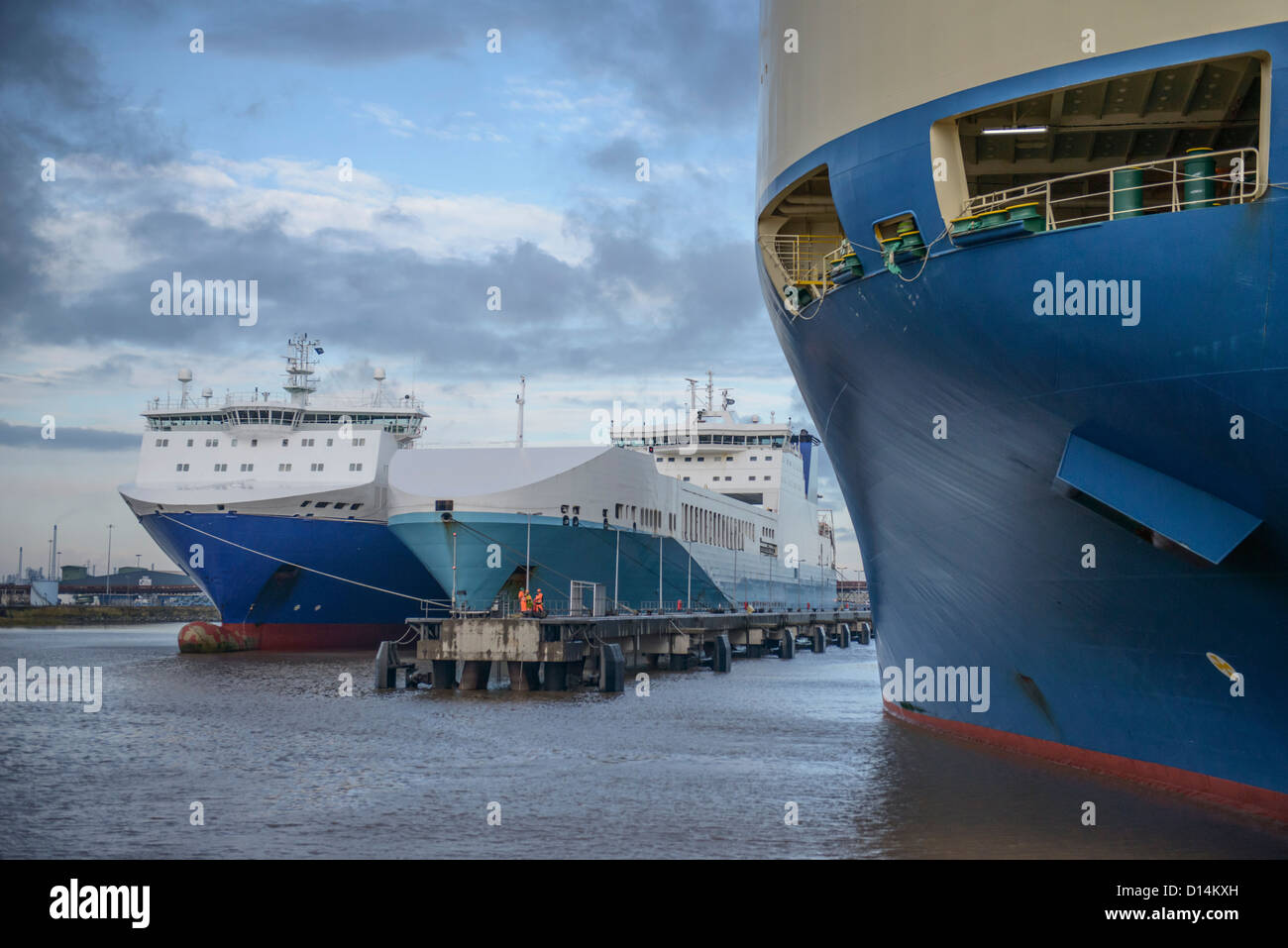 Ships docked in harbor - Stock Image
