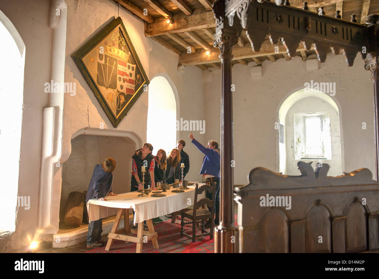 Students examining medieval tapestry - Stock Image