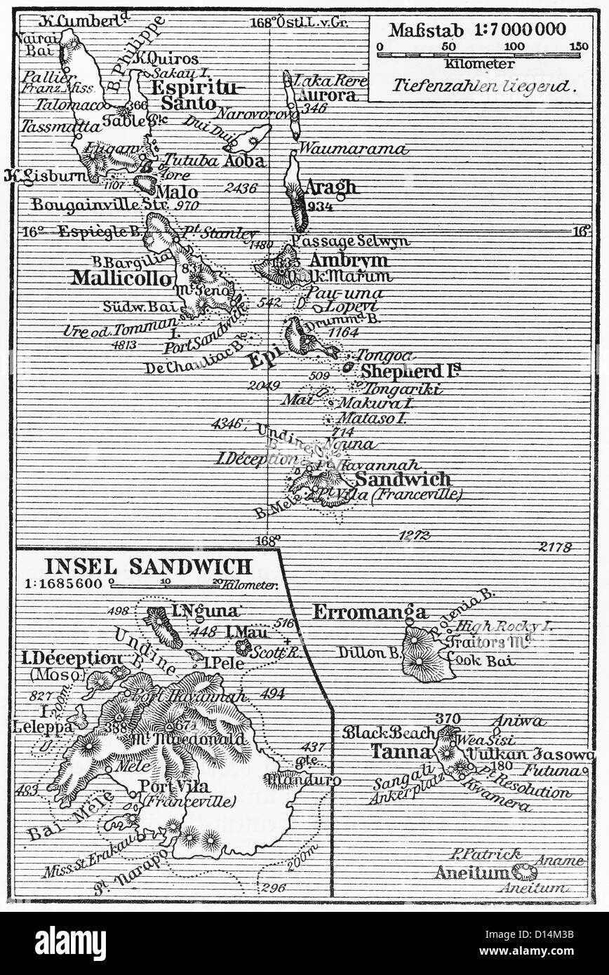 Vintage map of South Georgia and the South Sandwich Islands from the end of 19th century - Stock Image