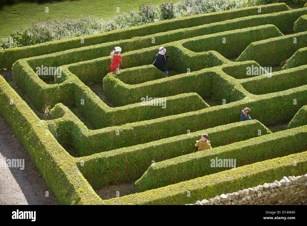 Students exploring hedge maze Stock Photo