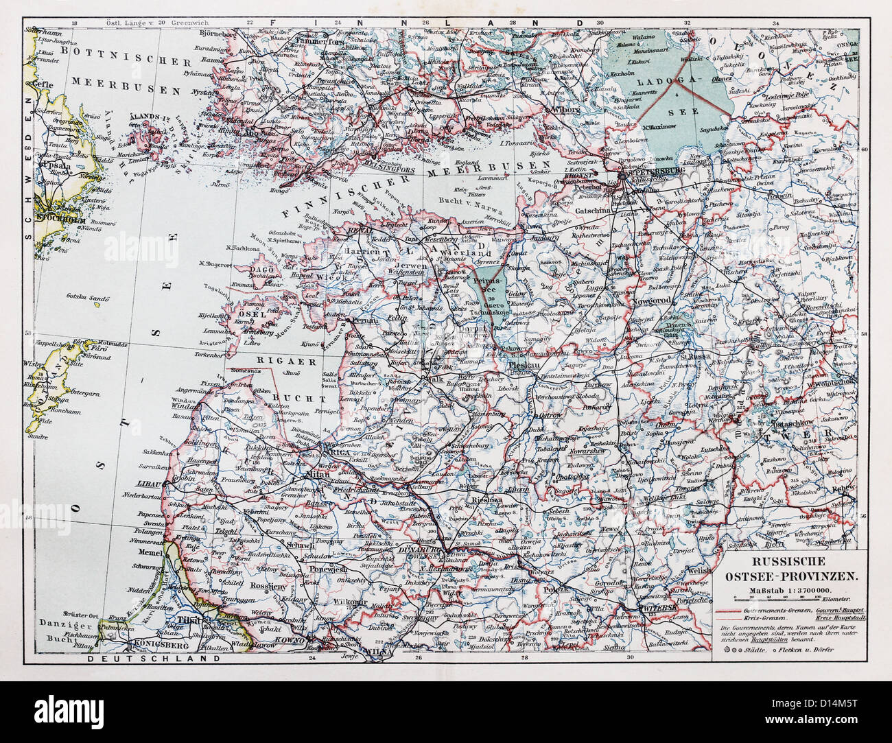 Vintage map of Russian Baltic sea provinces at the end of 19th century - Stock Image