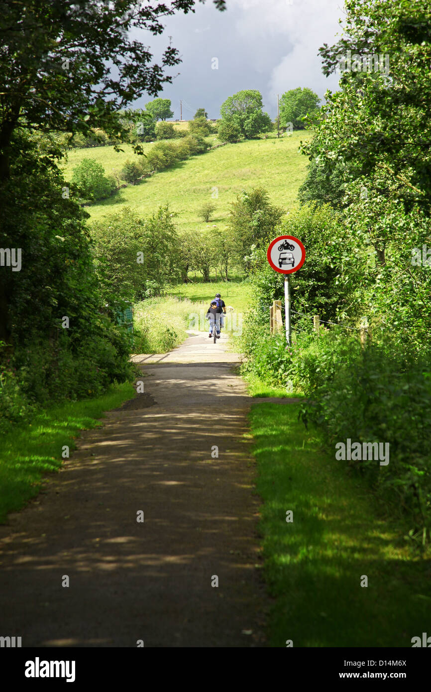Two cyclists cycling the Manifold Way a footpath and cycle way in Staffordshire Peak District National Park England - Stock Image